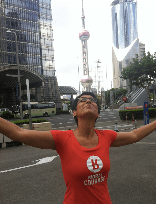 Irshad in Shanghai,  representing Moral Courage worldwide